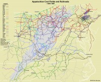 Map of Appalachian Railroads circa 1960