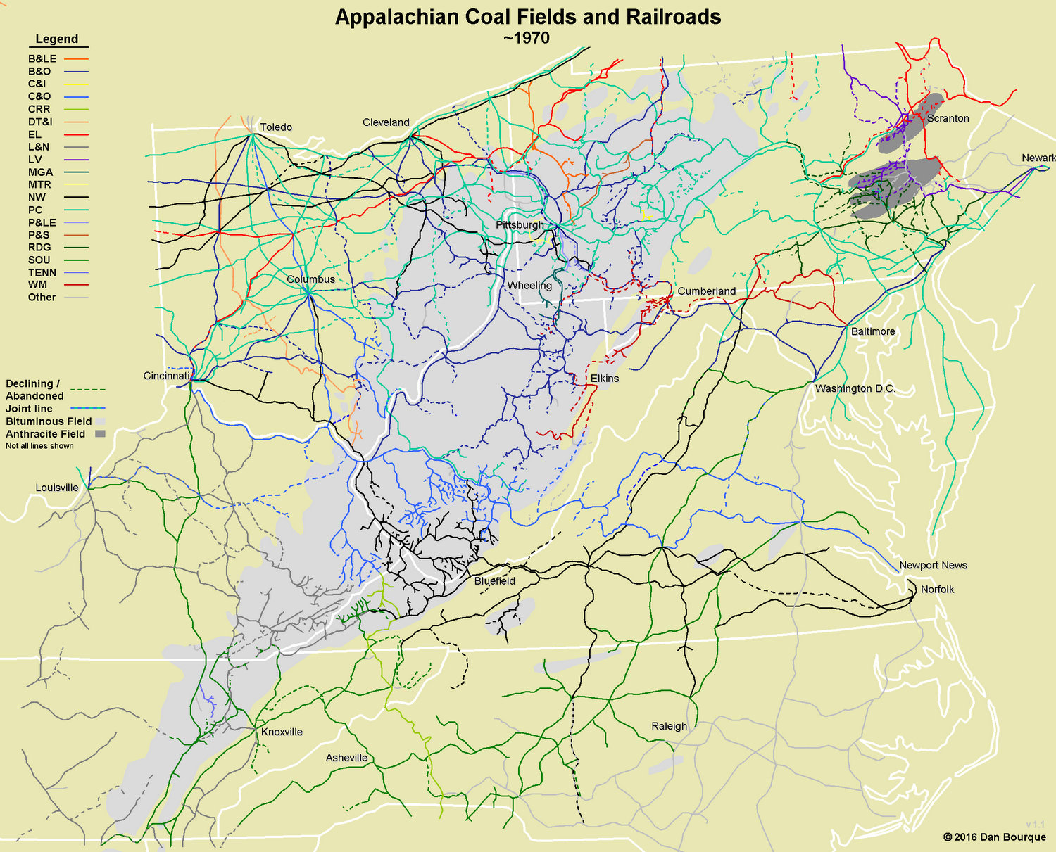 Map of Appalachian Railroads circa 1970