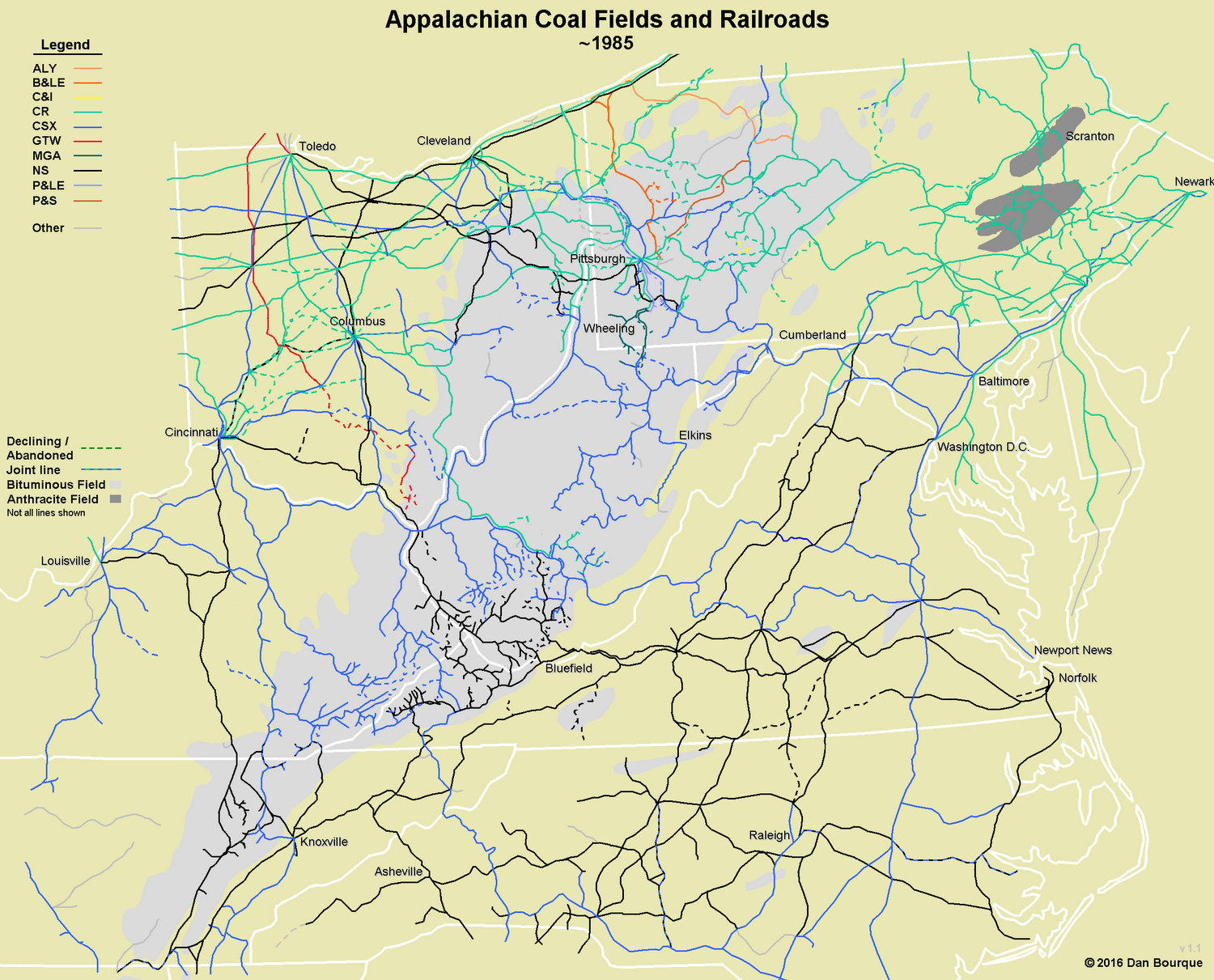 Map of Appalachian Railroads circa 1985