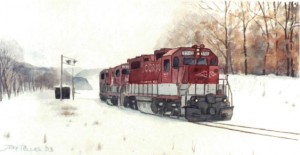RJ Corman in the Snow, watercolor by Jeff Pellas