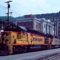 Chessie SD40-2s near Grafton, WV's Grand Station, 1983 -Jim Olmstead