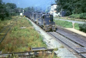 GP9 leads a coal train through Prince, WV, 1968 -Donald Haskel