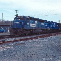 Conrail ex-EL SDP45 at Bethlehem, PA, 1984 -Tim Mader
