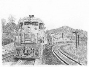 Six Axles in Appalachia, charcoal by Dan Bourque