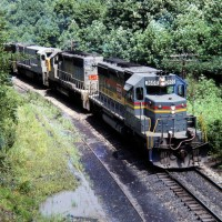 Family Lines SD40-2, on unit coal train at Wolfcoal, KY, Aug 1979 -Jay Thompson