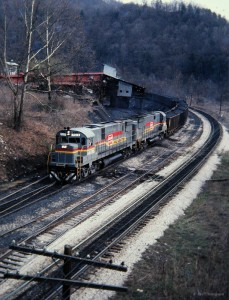 Family Lines C628s at Combs, KY, Mar 1979 -Jay Thompson