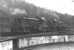 L&N RS3s on Loyall-Varilla mine run, Loyall, KY, Mar 1965 -Ron Flanary