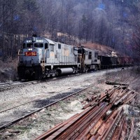 L&N Alco and GE power at Habersham, TN, Apr 1978 -Jay Thompson