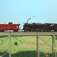 L&N M-1 and viaduct in HO by Jeff Kuebler