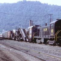 N&W T-6 18 with Speno ballast cleaning train, Williamson, WV