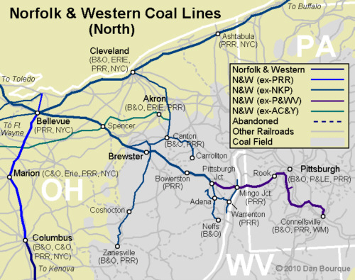 N&W northern coal fields map