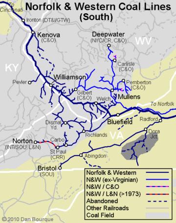 N&W southern coal fields map