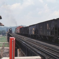 N&W trains on bridge, Kenova, WV