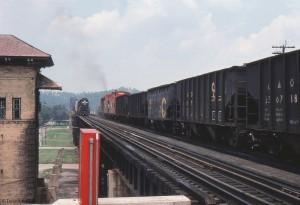 N&W trains meet on the bridge at Kenova, WV, Jul 1976 -Donald Haskel