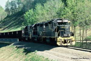P&LE GP38s topping Manor Branch summit, PA on the Monongahela, May 1991 -Dave Matheny