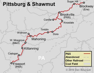 Pittsburg & Shawmut Railroad Map