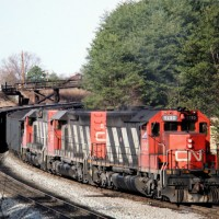 CN SD40s on SBD at Etowah, TN