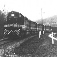 Southern SD35 3003 on radio train, Speers Ferry, VA