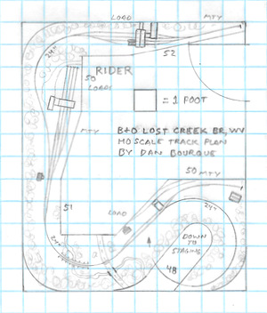 B&O Lost Creek Branch, WV HO scale track plan