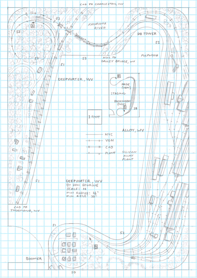 Track plan NYC VGN Deepwater, WV N scale