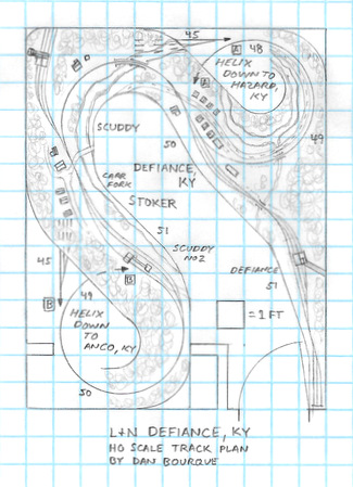 L&N Defiance, KY track plan HO scale