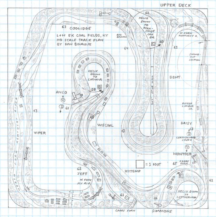 L&N EK Coal Fields, KY HO scale track plan