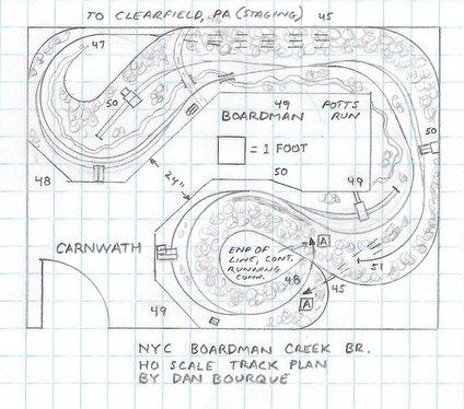 NYC Boardman Creek Branch, PA track plan HO
