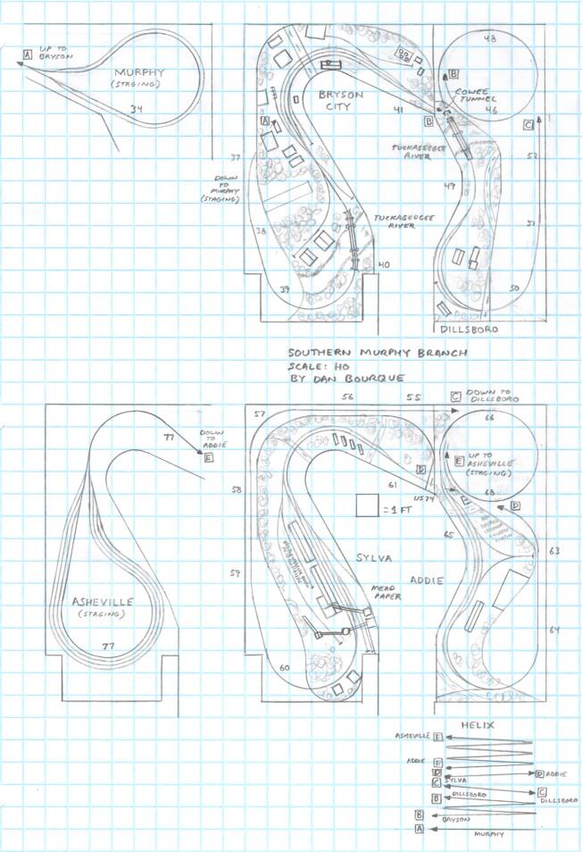 Track plan SOU Murphy Branch, NC HO scale