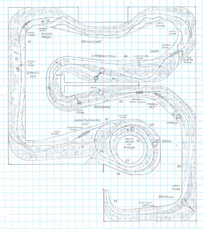 Oneida, Tennessee and Brimstone HO scale track plan - upper level
