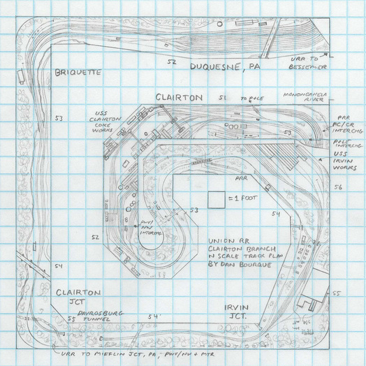 Union RR Clairton Branch N scale track plan