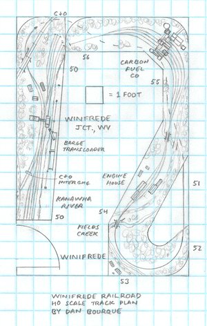 Winifrede Railroad track plan HO scale