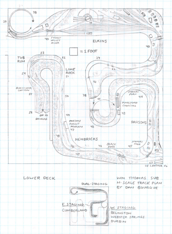 Track plan WM Thomas Sub, WV N scale - Lower