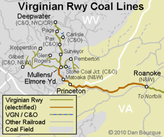 Virginian Railway coal fields map